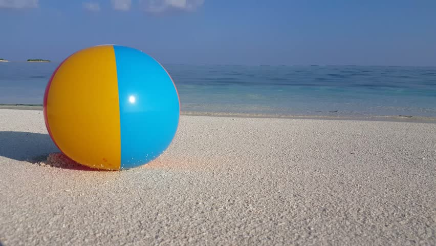 Swimming Pool Beach Ball Background beach ball floating in swimming pool moving with wind stock