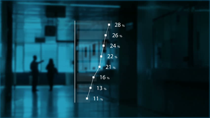 Health care infographics data on charts and diagrams with silhouettes of two people, doctor and patient in dark hospital hallway, obamacare concept | Shutterstock HD Video #25693010