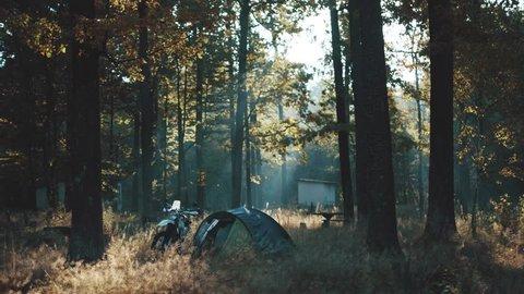 morning ride motorcycle adventure enduro sunrise lifestyle camp tent