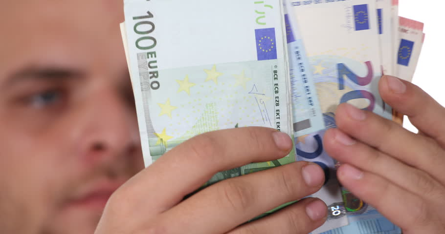 Business Man Count Euro Bills Banknotes Money Payday Cash Income Salary Concept