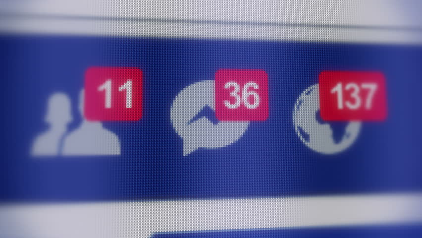 Editorial Animation of social network notifications. Increasing counters of the new friends and messages on LCD screen. Close up. Depth of Field.
