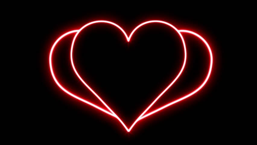 Glowing Red Neon Breaking Heart Loop