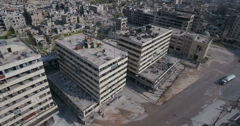 A drone filmed over the city of Aleppo in Syria