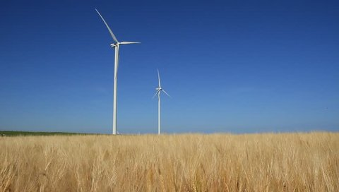 Two modern wind turbines generating sustainable energy in a field with wheat.