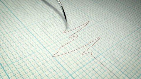 Truth concept. Closeup of a polygraph lie detector graph.