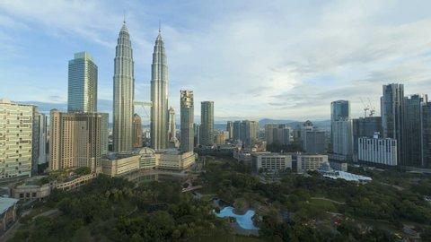 KUALA LUMPAR - CIRCA MAY 2011: View of KLCC Park and Petronas Twin Towers, Kuala Lumpur City Centre KLCC