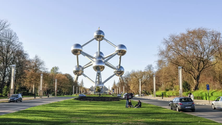 Brussels, Belgium. March 2017.  The Atomium monument in time lapse