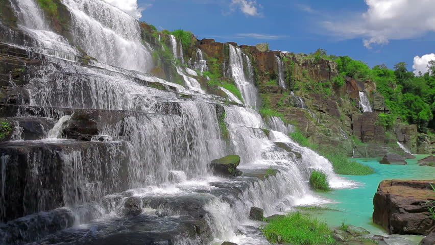 Beautiful Pongour waterfall in Vietnam at sunny day
