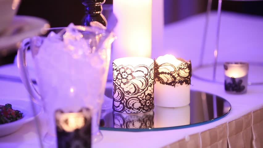 Candlelight Wedding Invitations: Wedding Reception Candle Centerpiece Stock Footage Video