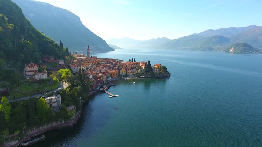 Sunset in Varenna - Villages on Como lake - Aerial view