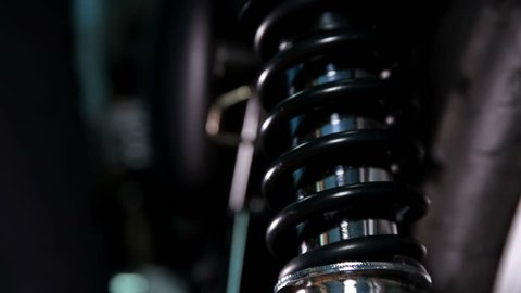 Motorcycle shock absorber, shot close-up