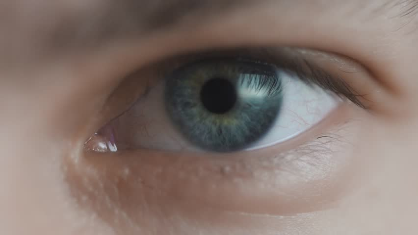 Close up of middle aged man's eyes. Slow motion