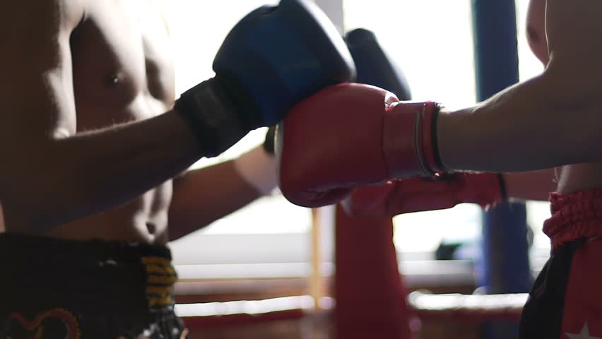 Hands of opponent fighters in boxing gloves, welcome before start of match