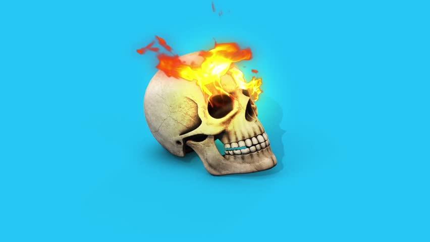 Skull Fire Blue Screen 3d Stock Footage Video (100% Royalty-free) 25982150  | Shutterstock