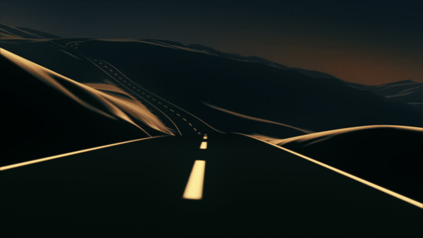 Go on an abstract road trip through the mountains. It has a kind of vector art look, with a slight dose of depth of field and motion blur for a touch of realism. 3D animation. 