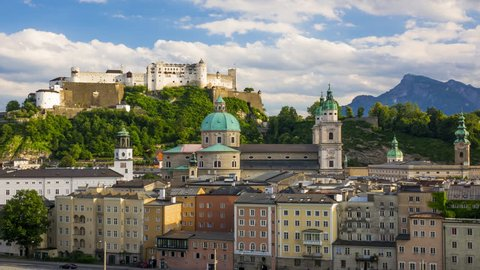 Austria. Salzburg. Evening view of the downtown and the Festung Hohensalzburg. Time lapse