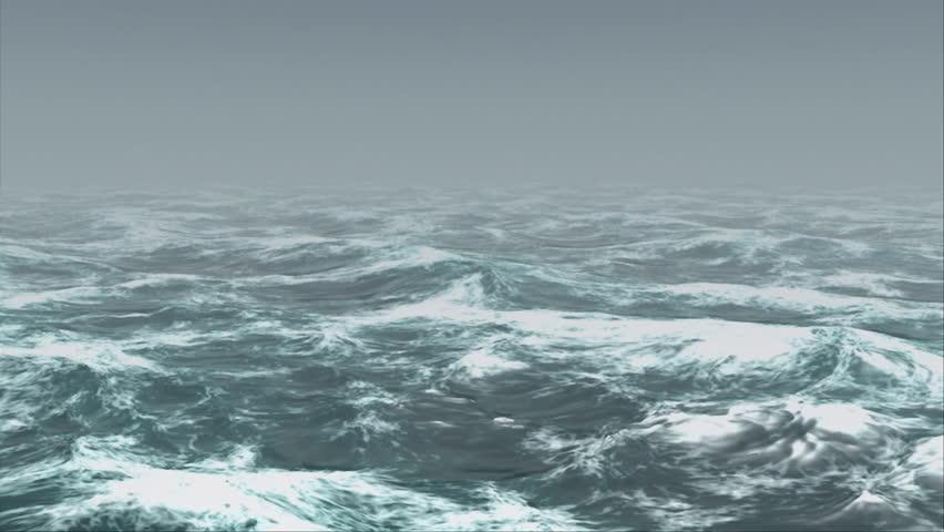 Oceanic 0101: Ocean waves roll in the mist (Loop). #25997390