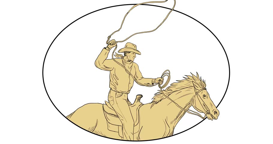 2d Animation motion graphics showing drawing sketch style illustration of a rodeo cowboy holding lasso riding horse set on white screen and green screen with alpha matte 4k ultra-high-definition.