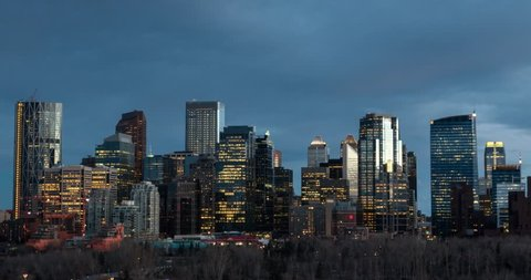 Day to Night Timelapse of Calgary skyline from Crescent Heights