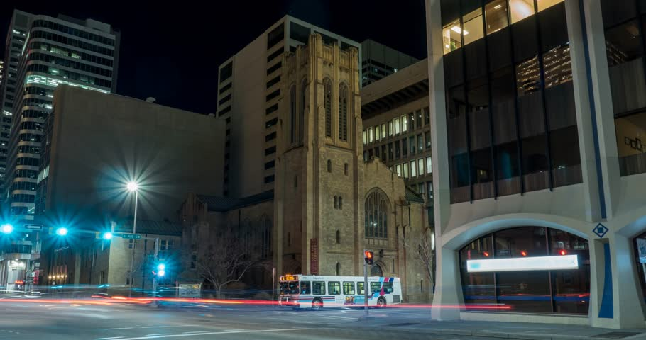 Hyperlapse of Knox Church on 6th ave in Calgary, Alberta   Shutterstock HD Video #26003690