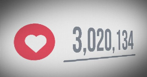 Close up Shot of Likes Quickly Increasing to 10 Million Views, Mouse Cursor Clicking  Heart(Love) Icons.