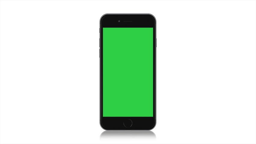 4K Black Smartphone on White Background, Mobile Screen, Blank Modern