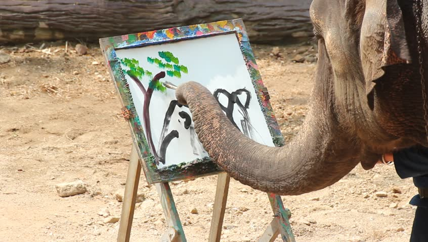 Paintings of elephants  Lampang Thailand April 13, 2017  :   Elephant drawing flowers Thailand Elephant Conservation Center Charles Griffin has been exhibited in various applications.