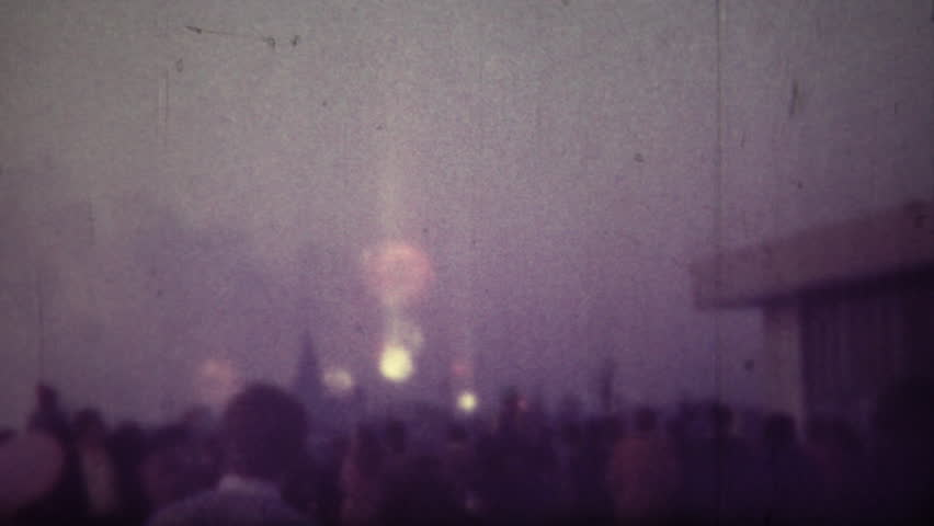 MOSCOW, RUSSIA - 9 MAY, 1986: Soviet people are watching fireworks