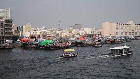 Dubai Creek, Khor Dubai, Dhow Wharfage and commercial centre, Deira, Dubai, United Arab Emirates, Middle East