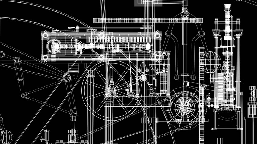 Animation of steam engine parts layered. Loops.