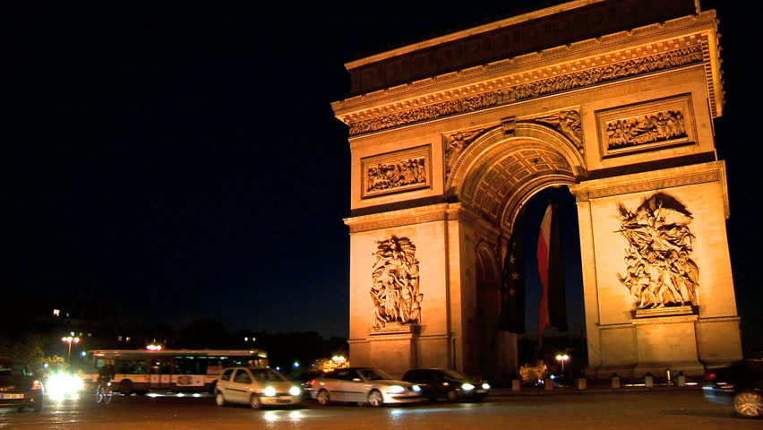 Arc Europe Ltd >> Arc De Triomphe In Paris,France At Night Stock Footage Video 261295 | Shutterstock