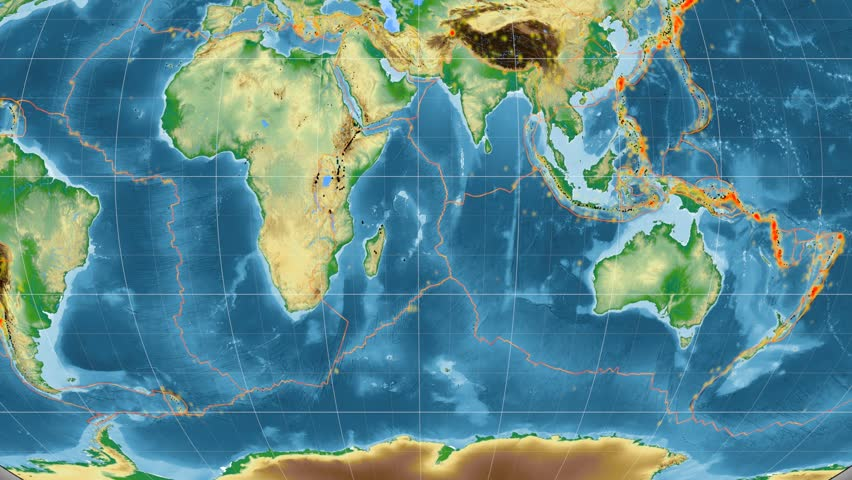 Somalia tectonic plate featured & animated against the global physical map in the Kavrayskiy VII projection. Tectonic plates borders (Peter Bird's division), earthquakes, volcanoes