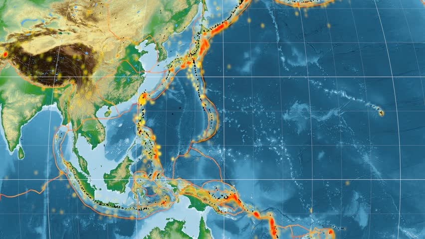 Philippine Sea tectonic plate featured & animated against the global physical map in the Kavrayskiy VII projection. Tectonic plates borders (Peter Bird's division), earthquakes, volcanoes