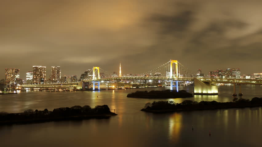 Night to day to night, 36 hour transitions looking towards the Rainbow Bridge and Tokyo Bay, with the Tokyo Tower in view, Odaiba district