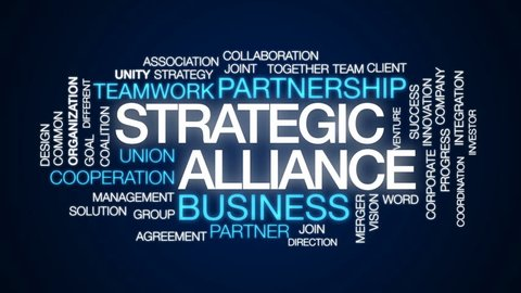 Strategic alliance animated word cloud, text design animation.