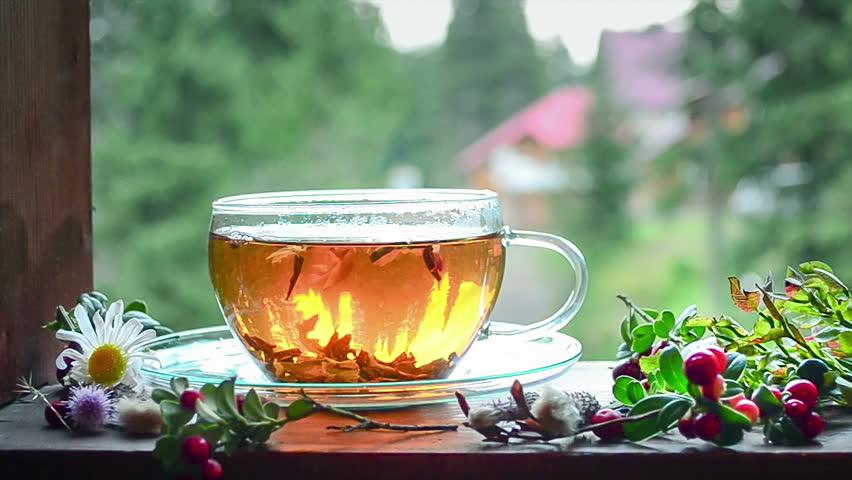 Tea on the window sill. Tea time.   Shutterstock HD Video #26200250