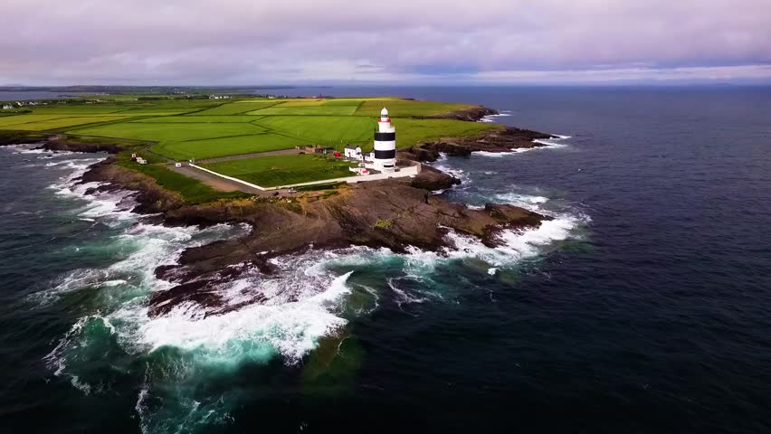 Aerial video of Hook Head Lighthouse Co. Wexford Ireland | Shutterstock HD Video #26233790