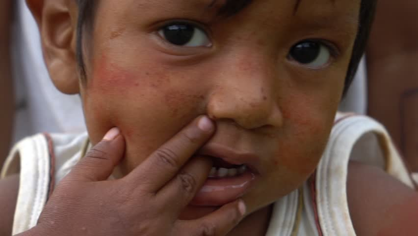 Closeup of face of Poor Children in Indigenous in South America