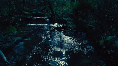 Beautiful cinematic image of a glistening stream lit by the light of the Moon at night as light ripples off the water & shadows fall through the forest just off of Town Creek near High Falls Alabama.