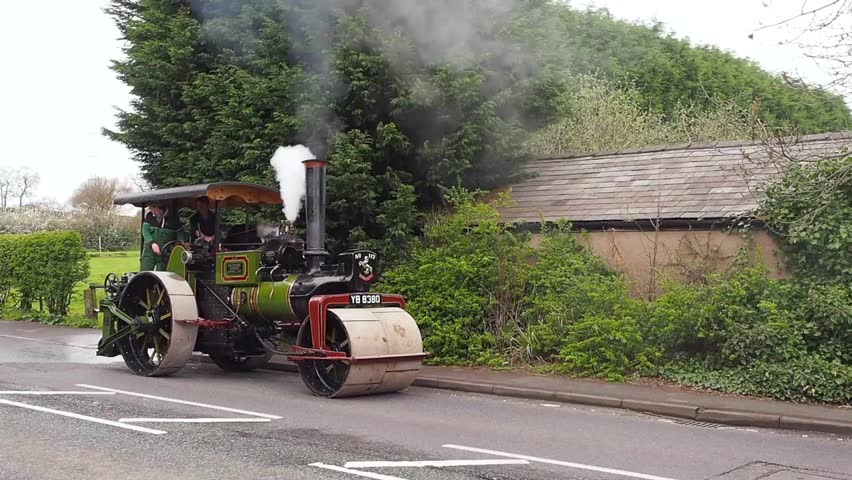 Henbury, Macclesfield, Cheshire, UK. April 14th 2017. Steam engine being driven along Chelford Road, Henbury, Macclesfield, Cheshire, UK