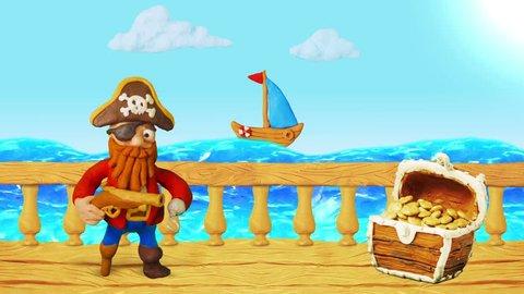Happy Cartoon Pirate speak and Treasure chest. Summer Sea. Clay animation. 4K