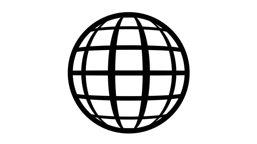 Globe Icon 360. Earth rotating 360 degrees. Parallels and Meridians. Seamless Loop. Black and white.