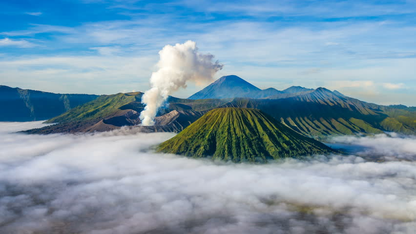 Time Lapse of Mount Bromo volcano (Gunung Bromo) during sunrise from viewpoint on Mount Penanjakan in Bromo Tengger Semeru National Park, East Java, Indonesia. | Shutterstock HD Video #26333480