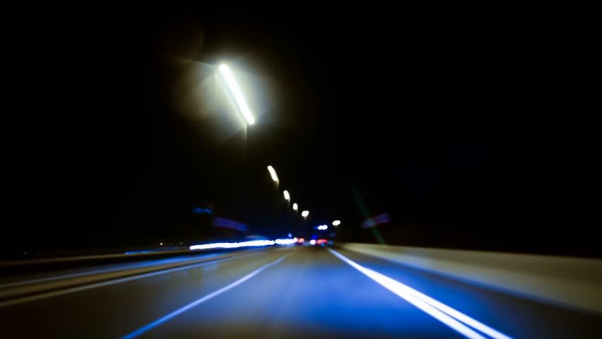 Freeway night driving. Time lapse. | Shutterstock HD Video #2634620