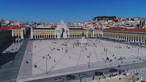 Lisbon, Portugal, Praça do Comércio, aerial view by drone