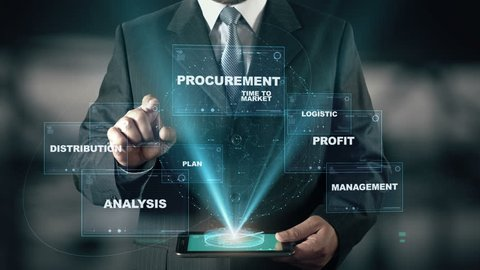 Businessman with SCM Supply Chain Management hologram concept
