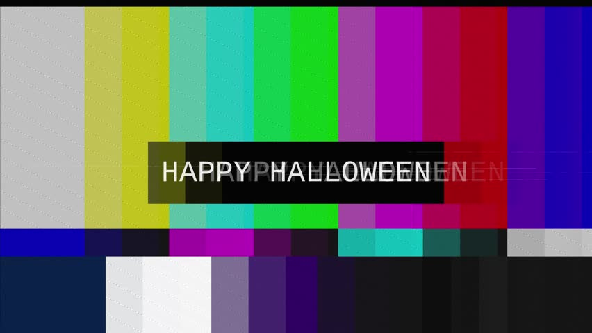 Distorted tv transmission, noisy signal of SMPTE color bars (a television screen test pattern) with the text Happy Halloween.  | Shutterstock HD Video #26380310