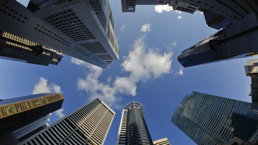 Singapore - CIRCA May 2011: Low angle view of Banks and Commercial buildings in Central Business District