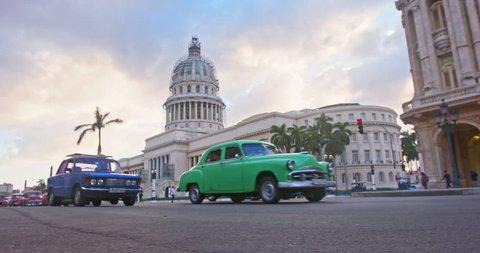 traffic and El Capitolio building In Havana, Cuba