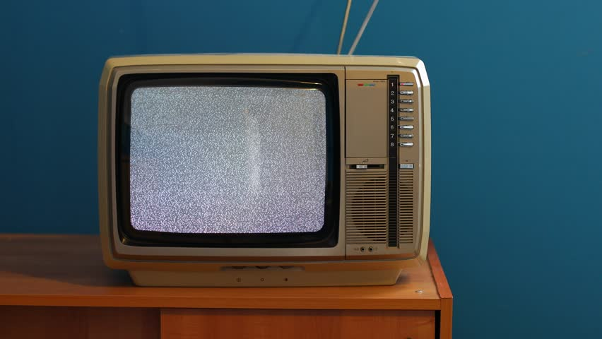 White noise on analogue TV set in room | Shutterstock HD Video #26417210